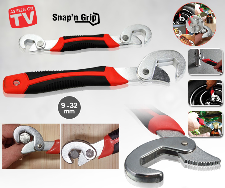 Set of 2 Snap and Grip New Universal Socket adjustable Wrench